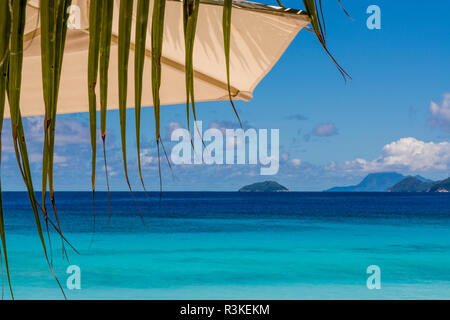 Petit Anse Beach at the Four Seasons Resort, Mahe, Republic of Seychelles, Indian Ocean. - Stock Photo