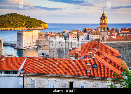 Dubrovnik, Croatia. Spectacular twilight picturesque view on the old town, medieval Ragusa on Dalmatian Coast. - Stock Photo