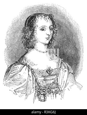 Henrietta Maria of France (1609-1669) was queen consort of England, Scotland, and Ireland as the wife of King Charles I. She was mother of his two immediate successors, Charles II and James II/VII. Contemporaneously, by a decree of her husband, she was known in England as Queen Mary, but did not like this name and signed her letters 'Henriette R'.  Her Roman Catholicism made her unpopular in England and prohibited her from being crowned in a Church of England service; therefore she never had a coronation. When civil war loomed on the horizon, and was compelled to seek refuge in France in 1644. - Stock Photo