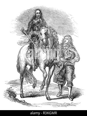 Portrait  of Charles I (1600-1649) mounted in full body armour with his armour bearer. He was monarch over the three kingdoms of England, Scotland, and Ireland from 27 March 1625 until his execution in 1649.  He was born into the House of Stuart as the second son of King James VI of Scotland, but after his father inherited the English throne in 1603, he moved to England, where he spent much of the rest of his life. He became heir apparent to the thrones of England, Scotland and Ireland on the death of his elder brother, Henry Frederick, Prince of Wales, in 1612. - Stock Photo