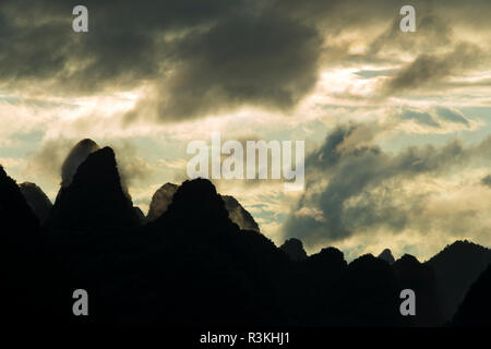 Moon Hill at sunset, Yangshuo, Guangxi, China - Stock Photo