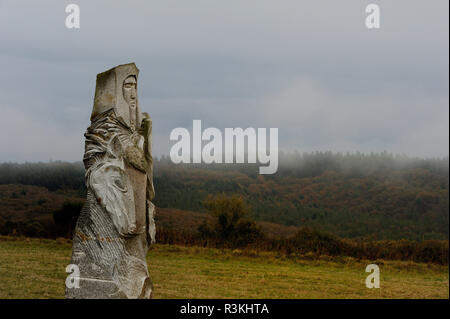 Carnoet (Brittany, north-western France): the Saints Valley. This project initiated by Philippe Abjean who wishes to create BrittanyÕs Easter Island a - Stock Photo