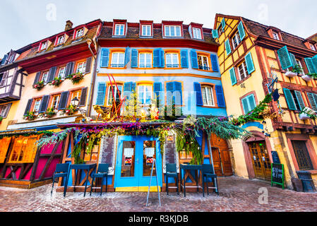 Colmar, Alsace, France. Gingerbread houses add Christmas Market of local craftsmen, famous in Europe. - Stock Photo