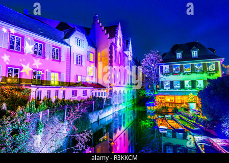 Colmar, Alsace, France. Gingerbread houses add Christmas decoration of local craftsmen, famous in Europe. - Stock Photo