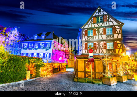 Colmar, Alsace, France. Gingerbread houses and Christmas decoration, Marche de Noel. - Stock Photo