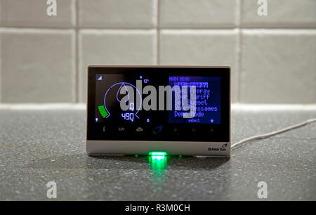 Edinburgh, Scotland, UK, 23 Nov. 2018. Smart meter on kitchen worktop - Stock Photo