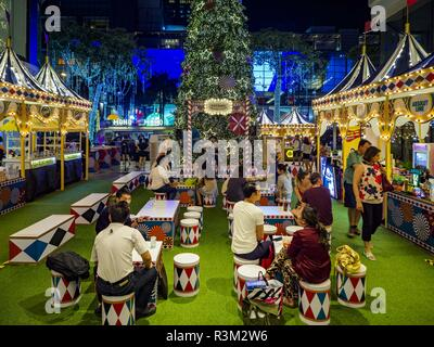 November 23, 2018 - Bangkok, Bangkok, Thailand - The Christmas village at Gaysorn, an exclusive mall in Bangkok. Although Thailand is an overwhelmingly Buddhist country, the commercial aspects of Christmas are widely observed, especially in Thailand's urban areas, which have large concentrations of Europeans and Americans. (Credit Image: © Jack Kurtz/ZUMA Wire) - Stock Photo