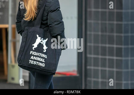 Southport, Merseyside, UK. 24th November, 2018. Vegan Woman in town centre against science, medicine, animal welfare, animal rights, ethics, animal experimentation, animal research,  Vegetarianism, Credit: MediaWorldImages/AlamyLiveNews. - Stock Photo