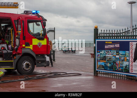 Hastings, East Sussex, UK: 24th November 2018: East Sussex Fire Brigade were called out to Hastings Pier after a small electrical fire broke out. Four fire engines attended the scene and the fire was quickily contained with minimal damage. Credit: SEUK News/Alamy Live News - Stock Photo