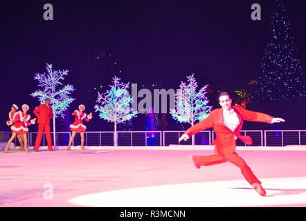 Orlando, Florida. November 17, 2018 Artist skater performs on ice at Christmas Show in International Drive area. - Stock Photo