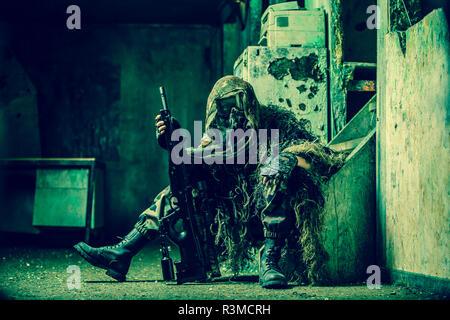 Sniper woman paintball - Stock Photo