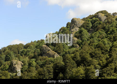 From the Fuchsfels lookout, the Vogelsteine, rocks, Rossberg massif, Hautes Vosges, Haut Rhin, France - Stock Photo