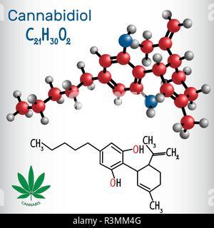 Cannabidiol (CBD) - structural chemical formula and molecule model. Active cannabinoid in cannabis, has antipsychotic effects. Vector illustration - Stock Photo