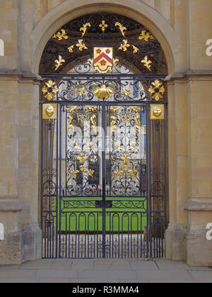 Entrance gate to All Souls college Oxford University United Kingdom near the Radcliffe Camera - Stock Photo