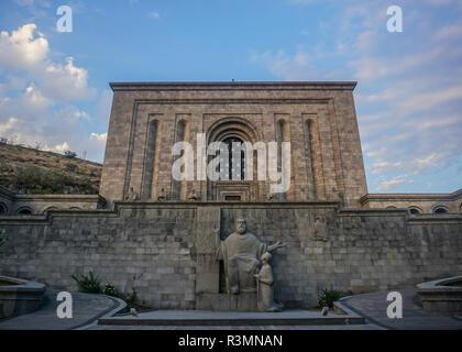 Yerevan Matenadaran Monument View of Mesrop Mashtost Statue - Stock Photo