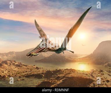 Pterosaur scene 3D illustration - Stock Photo
