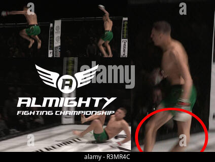 Almighty Fighting Championships, York Barbican, England, 17/11/2018  Amateur MMA fighter Jack Culshaw knocked out Zak Edwards at the Almighty Fighting Championship in York after 11 seconds. He injured both his legs during the celebration and is expected to be unable to return to fighting for up to a year. Picture montage provided via official event videographer supplied via event organiser and fighter promoter Raymond Thompson. Picture shows extent of his knee injury, - Stock Photo