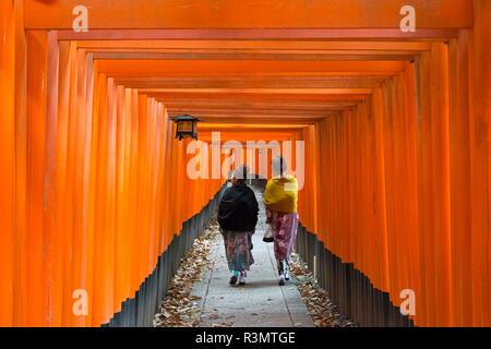 Women in traditional kimono walking along the Senbon Torii (thousands of Torii gates) in Fushimi Inari Shrine, Kyoto, Japan - Stock Photo