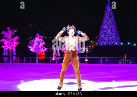 Orlando, Florida. November 17, 2018. Nice reindeer skating on ice at Christmas Show in International Drive area. - Stock Photo