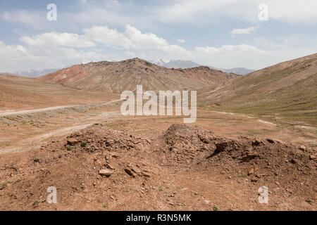 Landscape in the Pamir Mountains at the foot of Peak Lenin in Kyrgyzstan - Stock Photo