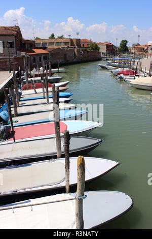 boat parking on murano - Stock Photo