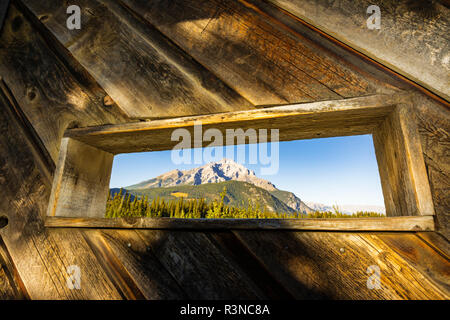 Wildlife viewing blind at Cave and Basin National Historic Site, Banff National Park, Alberta, Canada - Stock Photo