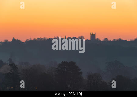 St Edward's Church in Stow on the Wold at sunrise in the autumn frost. Silhouette. Stow on the Wold, Cotswolds, Gloucestershire, England - Stock Photo