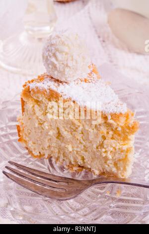 coconut quark cake - Stock Photo