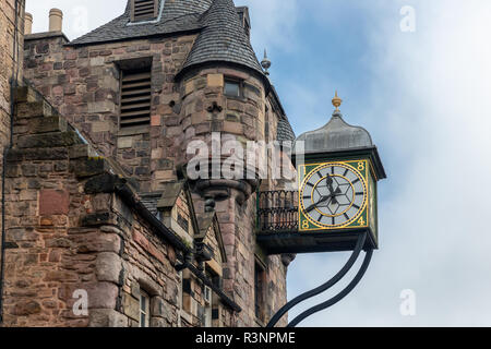 Canongate Tolbooth with clock along Royal Mile in Edinburgh, Scotland - Stock Photo