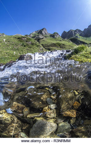 Mid-air view mid-water in the climb of the Col du Tourmalet, Hautes-Pyrenees, France - Stock Photo