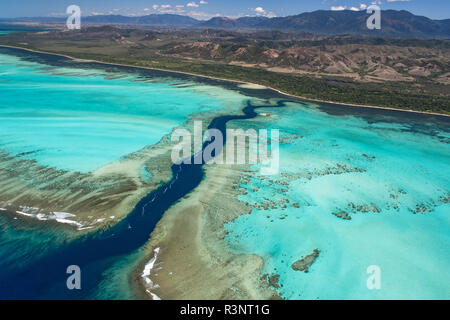 Rift in the reef and lagoon of the west coast, Lagoon of Poe. West Coastal Area World Heritage Site by Unesco. New Caledonia. - Stock Photo