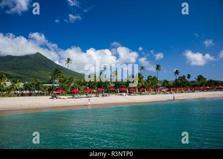 St. Kitts and Nevis, Nevis. Pinney's Beach - Stock Photo