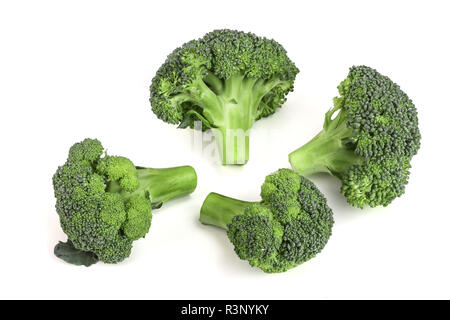 fresh broccoli isolated on white background close-up. Top view - Stock Photo