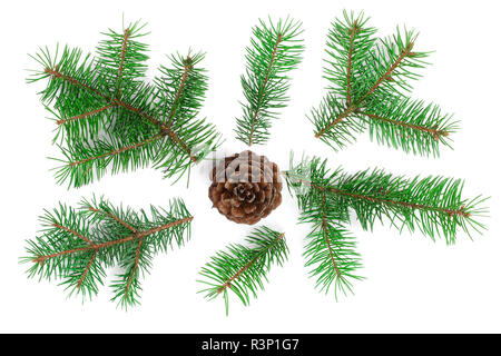 Fir tree branch with cones isolated on white background. Christmas background. Top view - Stock Photo