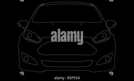 Ford Fiesta St Line Drawing Stock Photo 226064190 Alamy