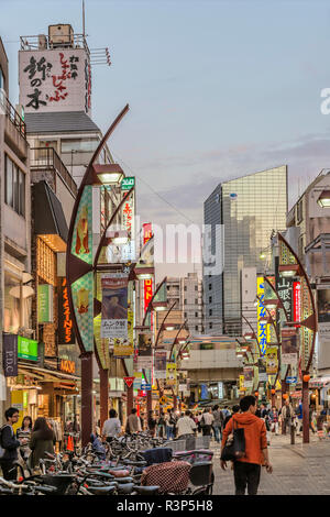 Cityscape at Ueno Ameya-Yokocho District at dawn, Tokyo, Japan   Strassenszene im Ueno Ameya-Yokocho Viertel bei Sonnenuntergang, Tokyo, Japan - Stock Photo