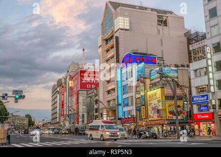 Cityscape at Ueno Business District at dawn, Tokyo, Japan   Strassenszene im Ueno Geschaeftsviertel bei Sonnenuntergang, Tokyo, Japan - Stock Photo