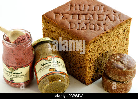 Specialties of the city : Mulot and Petitjean spice breads, with the cut, Nonnette de Dijon, Edmond Fallot mustard, IGP Mustard of Burgundy, jars, gingerbread, Dijon blackcurrant, Dijon, Cote d Or, France - Stock Photo