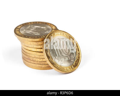 Russian metallic roubles coins stack isolated on white background - Stock Photo