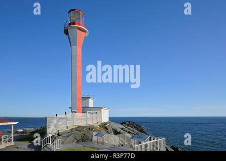 Canada, Nova Scotia, Yarmouth. Cape Forchu Lighthouse on Yarmouth Harbour. - Stock Photo