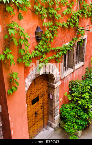 Courtyard at the Long Traboule in old town Vieux Lyon, France (UNESCO World Heritage Site) - Stock Photo