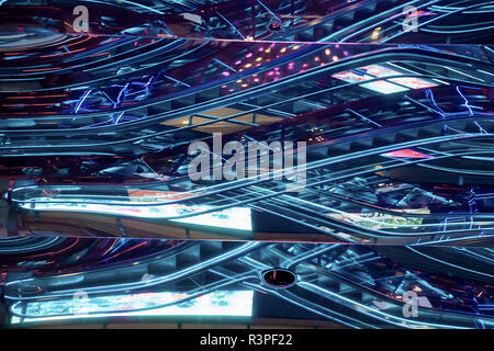 Futuristic neon line and design of modern building. Selective Focus Stock Photo