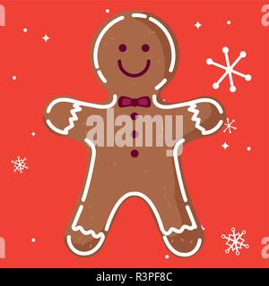 gingerbread man cookie icon over red background, vector illustration - Stock Photo