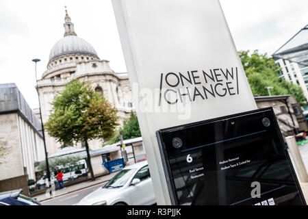London England Great Britain United Kingdom City of London One New Change mall shopping centre center view of St. Saint Paul's Cathedral dome - Stock Photo