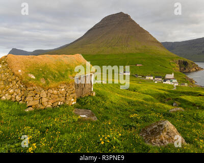 Village Vidareidi on the Island Vidoy. Faroe Islands, Denmark - Stock Photo