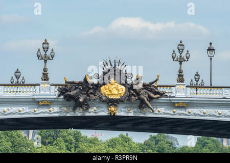 Relief sculpture on Pont Alexandre III, Paris, France - Stock Photo