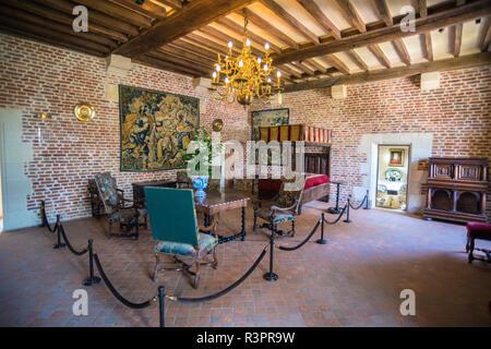 Bedroom in Chateau du Clos Luce, Leonardo da Vinci Park, Amboise, France - Stock Photo