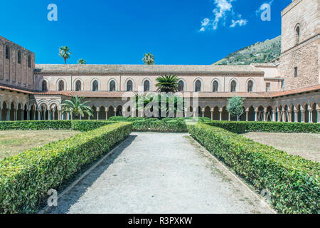 Europe, Italy, Sicily, Monteale, Monreale Cathedral, Cloister in the 12th Century in Arab Norman Style - Stock Photo