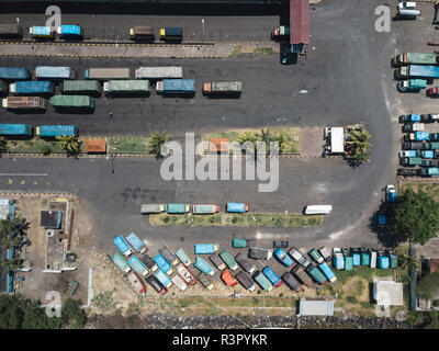 Indonesia, Bali, Aerial view of Padangbai, port from above - Stock Photo