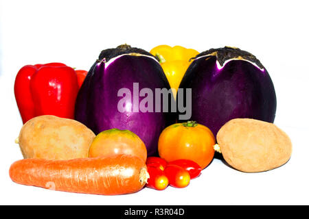 Rustic composition with various freshly picked vegetables - Stock Photo